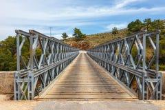 Διάσημη γέφυρα ζευκτόντων πέρα από το φαράγγι Aradena, Κρήτη Στοκ Φωτογραφία