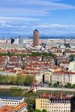 Διάσημη εναέρια άποψη της πόλης της Λυών Στοκ φωτογραφίες με δικαίωμα ελεύθερης χρήσης
