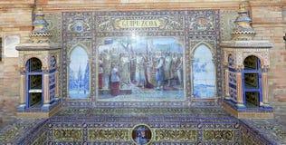 Διάσημη κεραμική διακόσμηση Plaza de Espana, Σεβίλλη, Ισπανία Στοκ Εικόνες