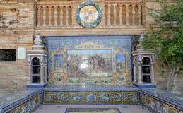 Διάσημη κεραμική διακόσμηση Plaza de Espana, Σεβίλλη, Ισπανία Στοκ Φωτογραφία