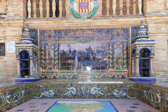 Διάσημη κεραμική διακόσμηση Plaza de Espana, Σεβίλλη, Ισπανία Στοκ Εικόνα