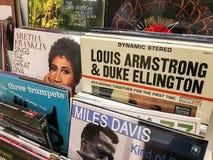 Διάσημη μουσική της Jazz για την πώληση στο κατάστημα μέσων μουσικής Στοκ Φωτογραφία