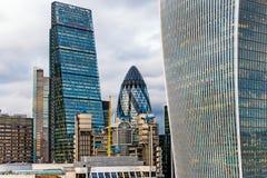 Διάσημη νέα σύγχρονη επιχείρηση Skycrapers στο Λονδίνο, Αγγλία Στοκ Εικόνες