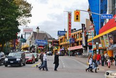 Διάσημη οδός λόφων του Clifton, καταρράκτες του Νιαγάρα Καναδάς Στοκ Φωτογραφίες