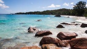 Διάσημη παραλία Anse Λάτσιο σε Praslin Σεϋχέλλες Στοκ φωτογραφία με δικαίωμα ελεύθερης χρήσης