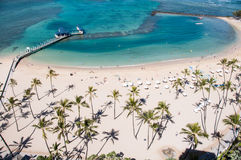 Διάσημη παραλία Waikiki Στοκ εικόνες με δικαίωμα ελεύθερης χρήσης