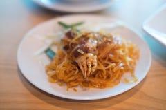 Διάσημη ταϊλανδική κουζίνα καβουριών μαξιλαριών ταϊλανδική Στοκ φωτογραφία με δικαίωμα ελεύθερης χρήσης