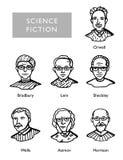 Διάσημοι συγγραφείς επιστημονικής φαντασίας, διανυσματικά πορτρέτα, Bradbury, Lem, Sheckley, Orwell, φρεάτια Asimov Harrison Στοκ Φωτογραφία