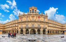Διάσημος ιστορικός δήμαρχος Plaza σε Σαλαμάνκα, Καστίλλη Υ Leon, Ισπανία Στοκ φωτογραφία με δικαίωμα ελεύθερης χρήσης