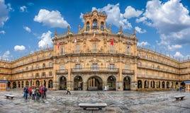 Διάσημος ιστορικός δήμαρχος Plaza σε Σαλαμάνκα, Καστίλλη Υ Leon, Ισπανία Στοκ Εικόνα