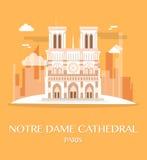 Διάσημος καθεδρικός ναός Γαλλία της Notre Dame ορόσημων ελεύθερη απεικόνιση δικαιώματος