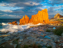 Διάσημος κόκκινος βράχος σε Arbatax, Σαρδηνία Ιταλία Στοκ Φωτογραφία