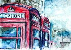 Διάσημος κόκκινος τηλεφωνικός θάλαμος του Λονδίνου landscape urban Υγρό watercolor ζωγραφικής σε χαρτί Αφελής τέχνη αφηρημένη τέχ διανυσματική απεικόνιση