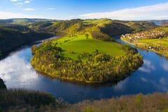 Διάσημος μαίανδρος στον ποταμό Vltava στην άνοιξη στοκ εικόνα με δικαίωμα ελεύθερης χρήσης