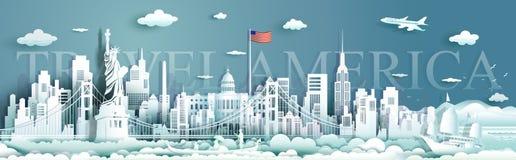 Διάσημος ορίζοντας αρχιτεκτονικής μνημείων των Ηνωμένων Πολιτειών της Αμερικής ορόσημων γύρου απεικόνιση αποθεμάτων