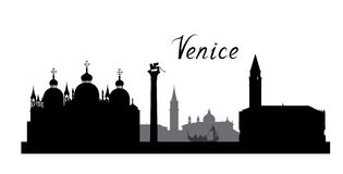 Διάσημος ορίζοντας ορόσημων πόλεων της Βενετίας Υπόβαθρο της Ιταλίας ταξιδιού ελεύθερη απεικόνιση δικαιώματος
