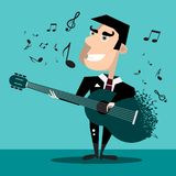 Διάσημος τραγουδιστής με την κιθάρα και τις σημειώσεις ελεύθερη απεικόνιση δικαιώματος