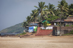 Διάσημος τόπος προορισμού τουριστών παραλιών Anjuna, Goa, Ινδία Στοκ Φωτογραφία