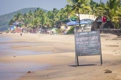 Διάσημος τόπος προορισμού τουριστών παραλιών Anjuna, Goa, Ινδία Στοκ Εικόνα