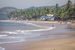 Διάσημος τόπος προορισμού τουριστών παραλιών Anjuna, Goa, Ινδία Στοκ Εικόνες