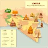 Διάσημος χάρτης ναών της Ινδίας διανυσματική απεικόνιση