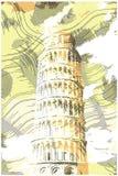 Διάσημος pisan πύργος που δίνεται με τα αποτελέσματα χάραξης διανυσματική απεικόνιση