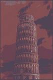 Διάσημος pisan πύργος που δίνεται με τα αποτελέσματα χάραξης απεικόνιση αποθεμάτων