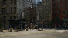 Διάσημο επίπεδο πανόραμα 4k Νέα Υόρκη ΗΠΑ οικοδόμησης σιδήρου του Μανχάτταν θερινής ημέρας
