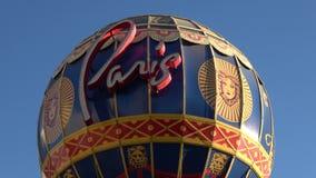 Διάσημο μπαλόνι στο ξενοδοχείο του Παρισιού και χαρτοπαικτική λέσχη στο Λας Βέγκας - ΗΠΑ 2017 απόθεμα βίντεο