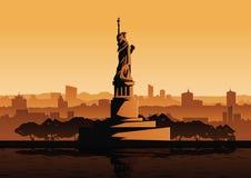 Διάσημο ορόσημο αγαλμάτων ελευθερίας των ΗΠΑ, ύφος σκιαγραφιών Στοκ εικόνα με δικαίωμα ελεύθερης χρήσης