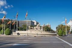 Διάσημο ορόσημο πηγών cibeles στην πλατεία Cibeles, Μαδρίτη, Spai Στοκ φωτογραφίες με δικαίωμα ελεύθερης χρήσης