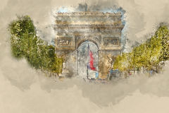 Διάσημο ορόσημο στο Παρίσι - Arc de Triomphe - τόξο θριάμβων Απεικόνιση αποθεμάτων