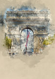 Διάσημο ορόσημο στο Παρίσι - Arc de Triomphe - τόξο θριάμβων Στοκ Εικόνα