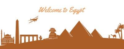Διάσημο ορόσημο της Αιγύπτου, προορισμός ταξιδιού, σχέδιο σκιαγραφιών, κλασικό σχέδιο διανυσματική απεικόνιση