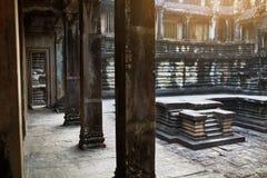 Διάσημο ορόσημο της Καμπότζης Εσωτερικό προαύλιο ναών Wat Angkor Στοκ εικόνες με δικαίωμα ελεύθερης χρήσης