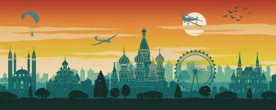 Διάσημο ορόσημο της Ρωσίας στο σχέδιο τοπίου, προορισμός ταξιδιού, σχέδιο σκιαγραφιών, χρόνος ηλιοβασιλέματος στο κόκκινο και πρά απεικόνιση αποθεμάτων