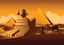 Διάσημο ορόσημο Sphinx και πυραμίδων της Αιγύπτου, έκδοση κινούμενων σχεδίων Στοκ εικόνες με δικαίωμα ελεύθερης χρήσης