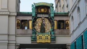 Διάσημο ρολόι Ankeruhr σε Hoher Markt Αυστρία Βιέννη Στοκ εικόνες με δικαίωμα ελεύθερης χρήσης