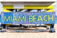 Διάσημο σημάδι στην παραλία στο Μαϊάμι Στοκ Εικόνα