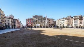 Διάσημο σημαντικό τετράγωνο Vic στην πόλη, Osona, Καταλωνία, Ισπανία στοκ εικόνες