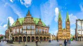 Διάσημο τετράγωνο αγοράς της Βρέμης στη χανσεατική πόλη Βρέμη, Γερμανία στοκ φωτογραφίες με δικαίωμα ελεύθερης χρήσης