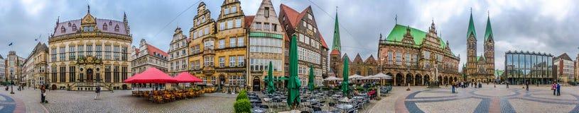 Διάσημο τετράγωνο αγοράς της Βρέμης στη χανσεατική πόλη Βρέμη, Γερμανία στοκ εικόνες