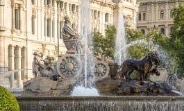 Διάσημο τετράγωνο πηγών Cibeles στη Μαδρίτη, Ισπανία Στοκ φωτογραφία με δικαίωμα ελεύθερης χρήσης