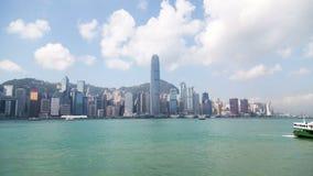 Διάσημο χρονικό σφάλμα Κίνα πανοράματος θερινής ημέρας κόλπων εικονικής παράστασης πόλης του Χογκ Κογκ 4k απόθεμα βίντεο
