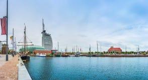 Διάσημο Havenwelten με το ξενοδοχείο στη χανσεατική πόλη Bremerhaven, Βρέμη, Γερμανία στοκ εικόνες