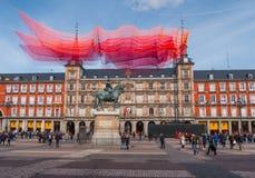 Διάσημο Plaza δήμαρχος Square στην ιστορική περιοχή της Μαδρίτης Στοκ Εικόνες