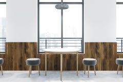 Διάσκεψη στρογγυλής τραπέζης στον άσπρο καφέ διανυσματική απεικόνιση