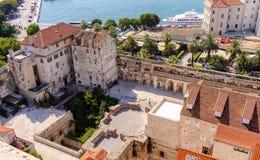 Διάσπαση, εναέριος νότος παλατιών της Κροατίας Diocletian Στοκ Φωτογραφία
