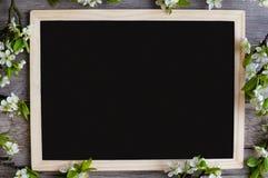 Διάστημα αντιγράφων σε έναν μαύρο πίνακα για δημιουργικό σας με τους όμορφους κλάδους του δαμάσκηνου Στοκ Εικόνες