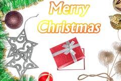 διάστημα εγγράφου διακοπών χαιρετισμών διακοσμήσεων αντιγράφων Χριστουγέννων καρτών Δώρα και διακοσμήσεις Χριστουγέννων Στοκ Φωτογραφίες